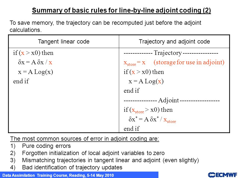 Trajectory and adjoint code