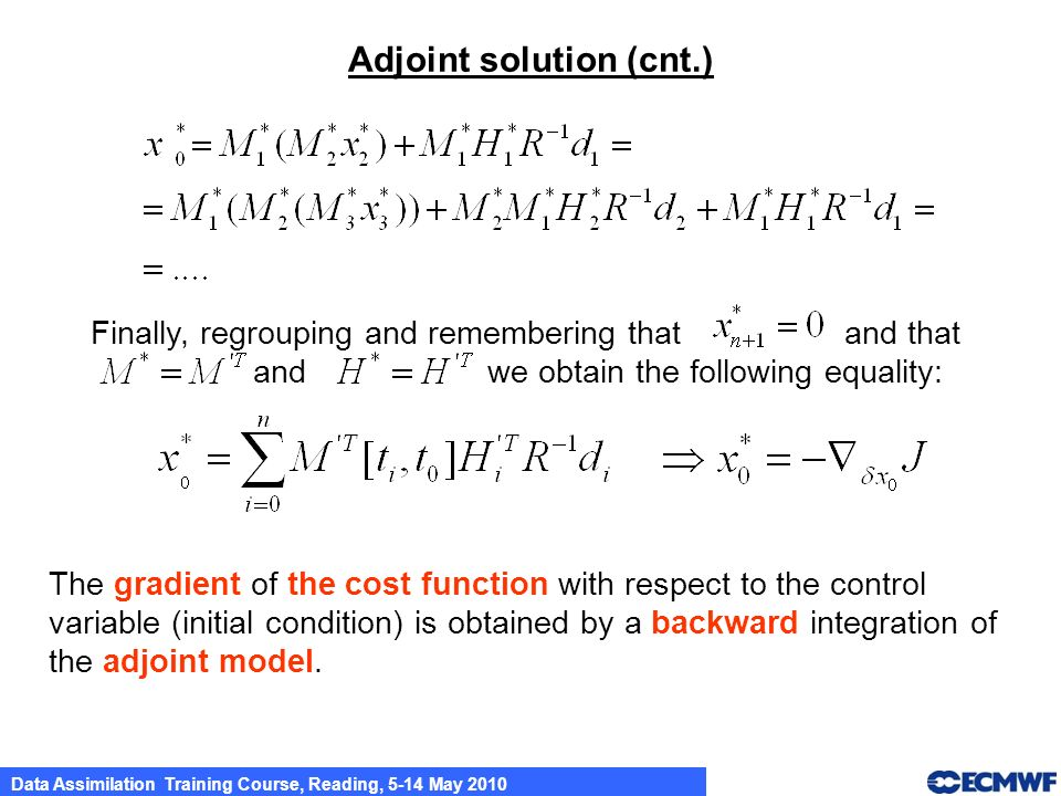 Adjoint solution (cnt.)