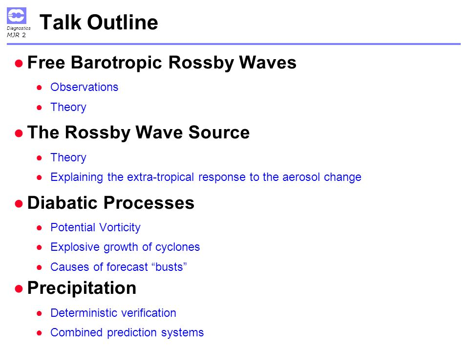 Talk Outline Free Barotropic Rossby Waves The Rossby Wave Source