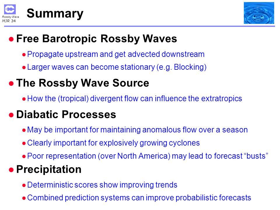 Summary Free Barotropic Rossby Waves The Rossby Wave Source