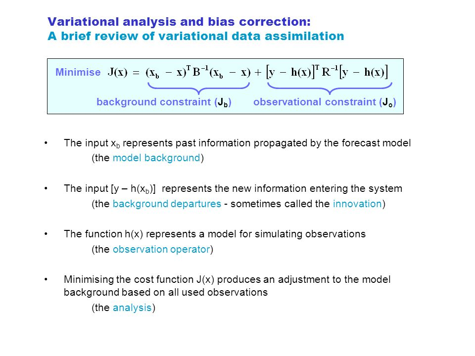 Variational analysis and bias correction: A brief review of variational data assimilation