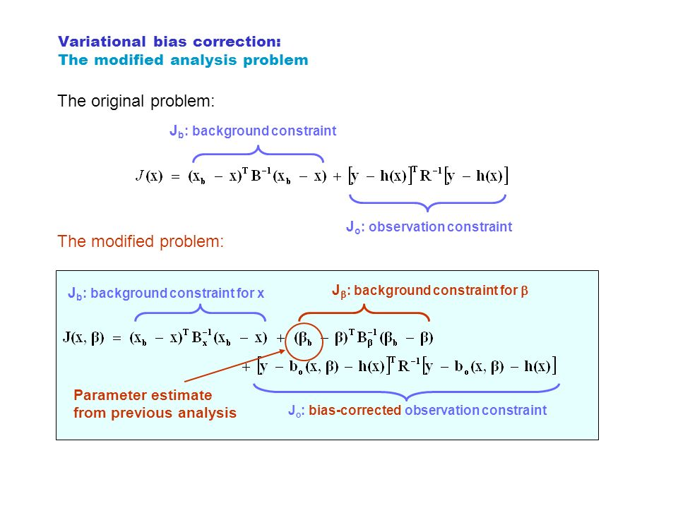 Variational bias correction: The modified analysis problem
