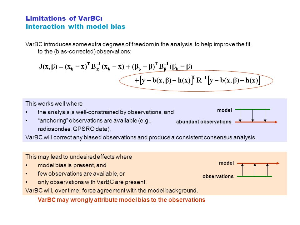 Limitations of VarBC: Interaction with model bias
