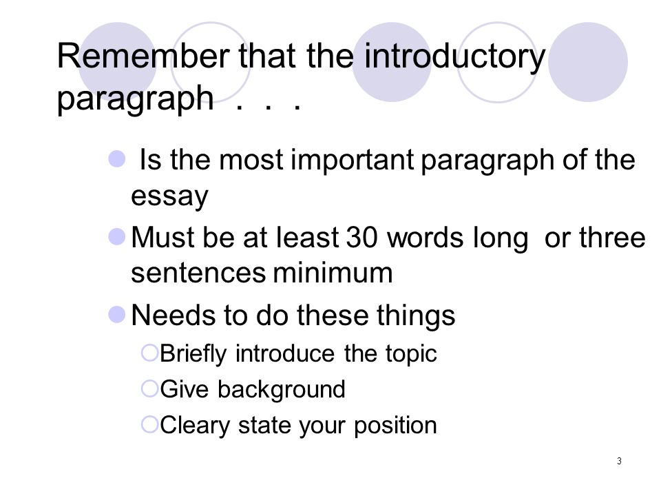 writing good essay introduction paragraph Things not to do in an introductory paragraph: move confidently into your essay many writers find it useful to write a warm-up paragraph good because that.