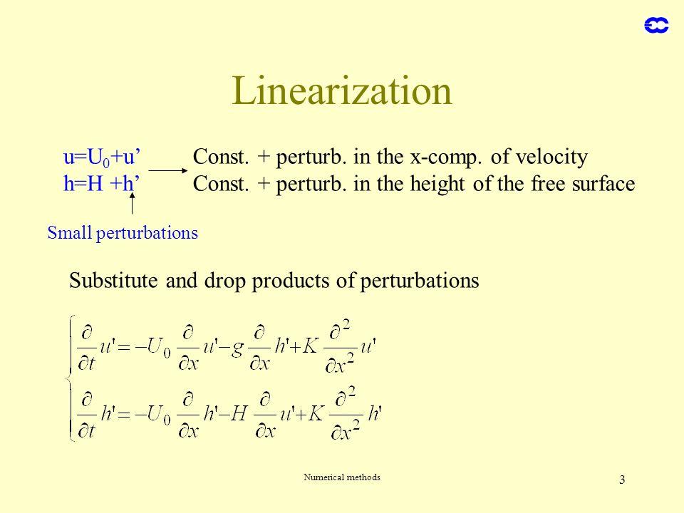 Linearization u=U0+u' h=H +h'