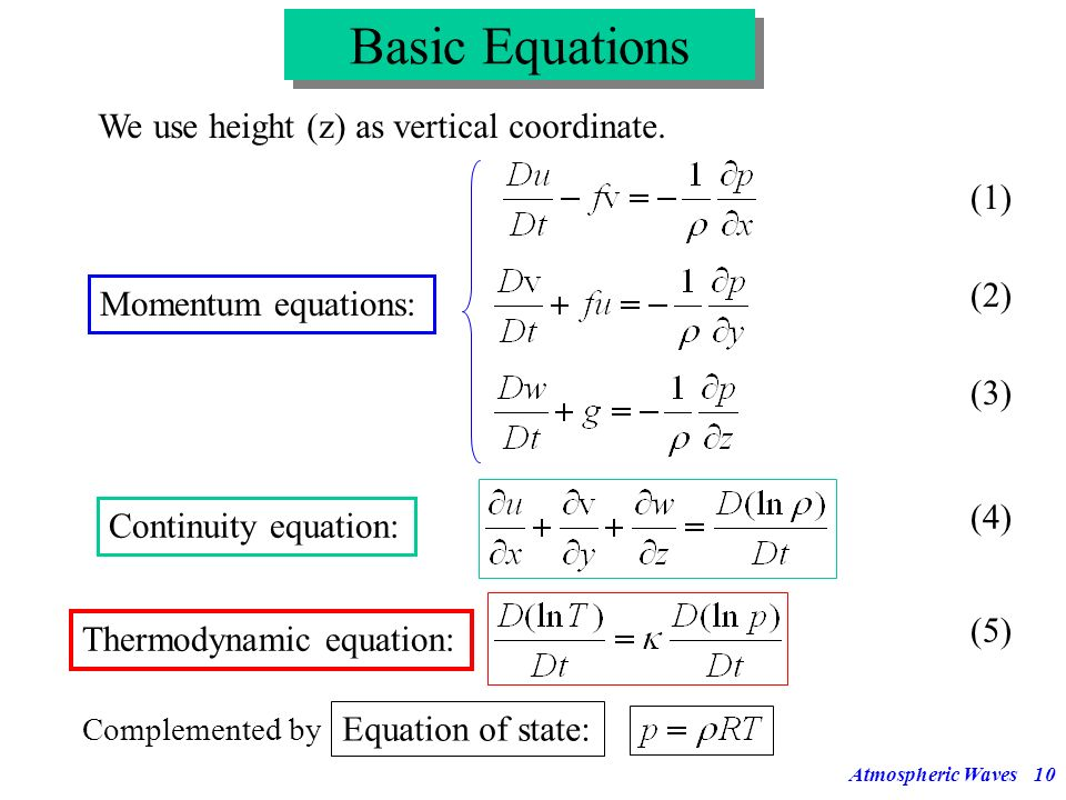 Basic Equations We use height (z) as vertical coordinate. (1) (2)