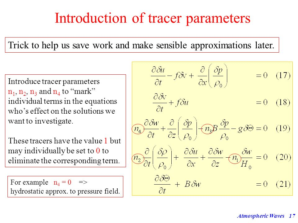 Introduction of tracer parameters