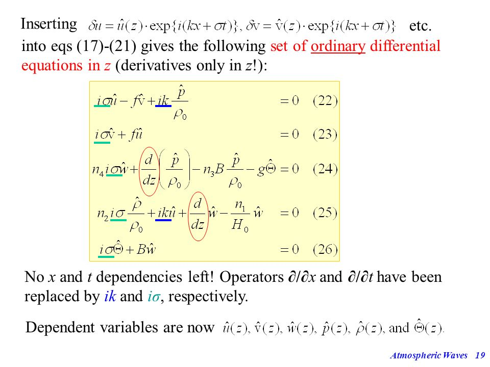 into eqs (17)-(21) gives the following set of ordinary differential