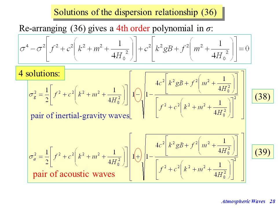 Solutions of the dispersion relationship (36)