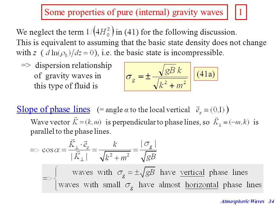 Some properties of pure (internal) gravity waves 1
