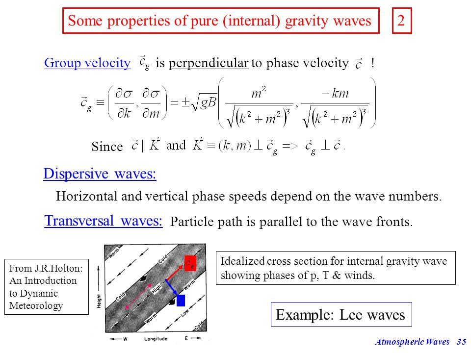 Some properties of pure (internal) gravity waves 2