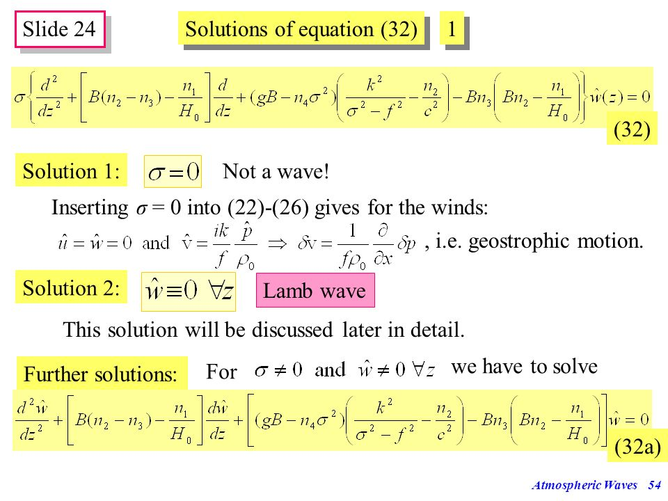 Solutions of equation (32) 1