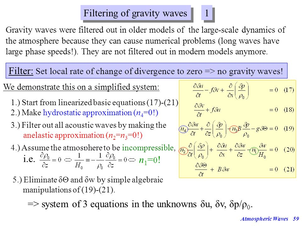 Filtering of gravity waves 1
