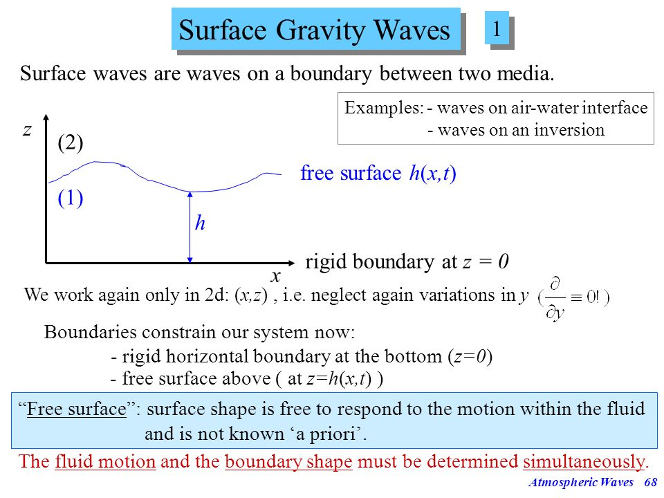 Surface Gravity Waves 1. Surface waves are waves on a boundary between two media. Examples: - waves on air-water interface.