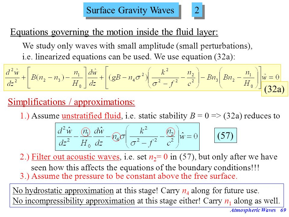 Equations governing the motion inside the fluid layer: