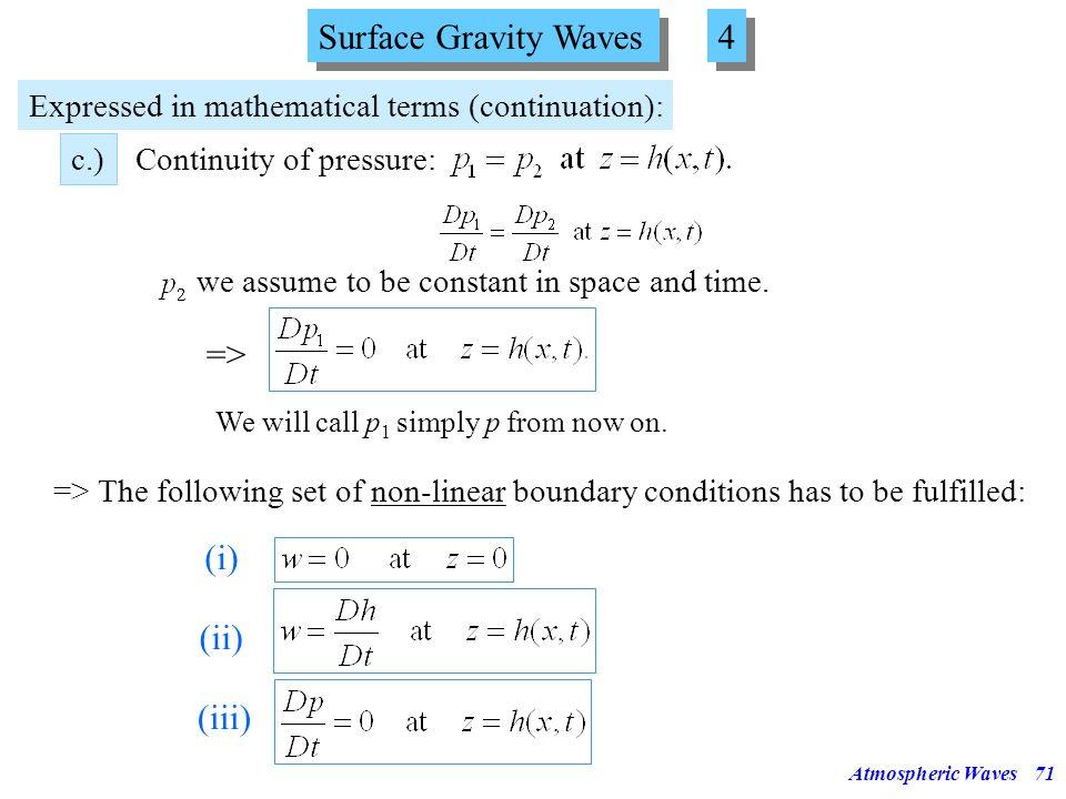 Surface Gravity Waves 4 => (i) (ii) (iii)