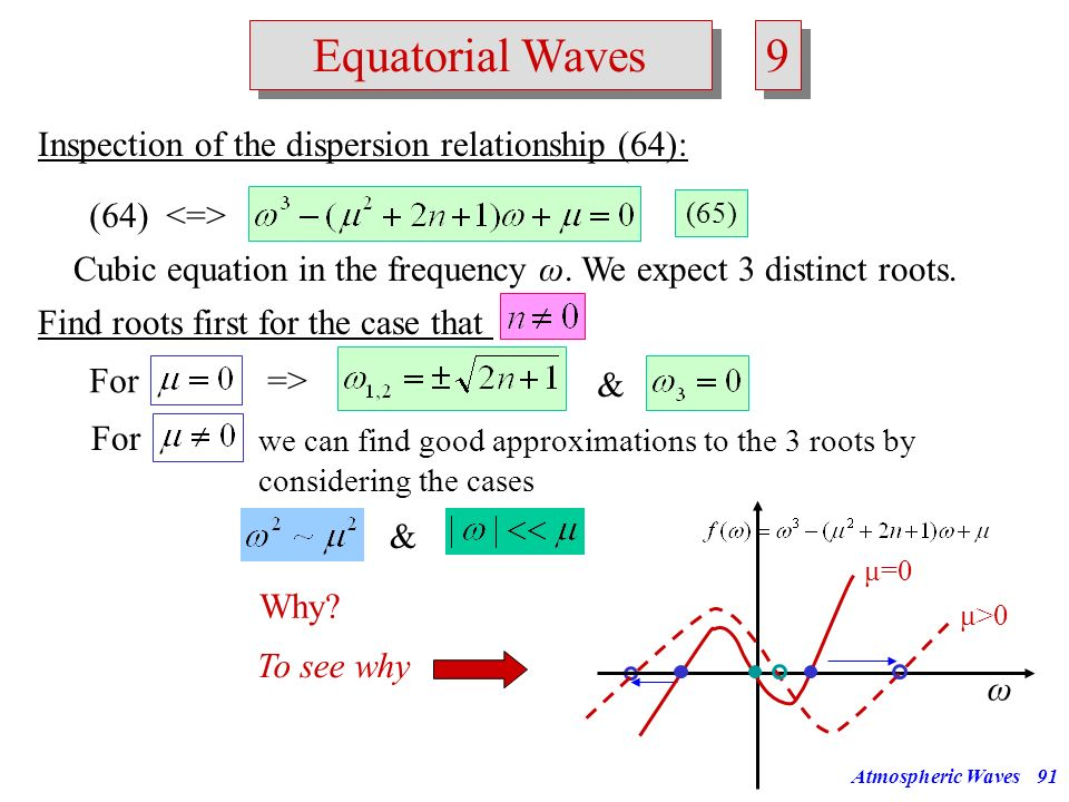 9 Equatorial Waves Inspection of the dispersion relationship (64):