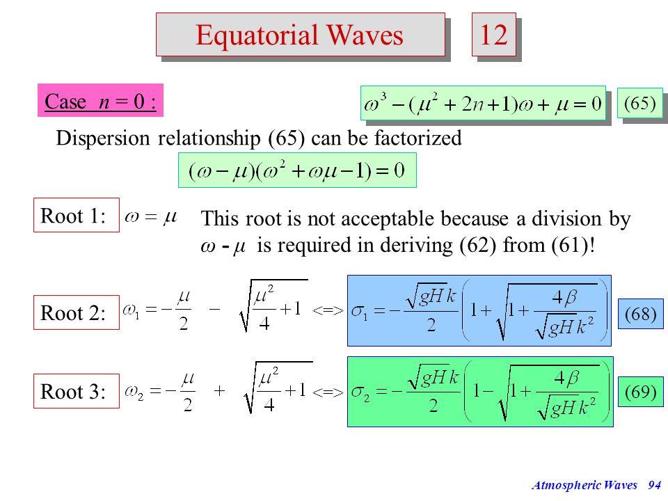12 Equatorial Waves Case n = 0 :
