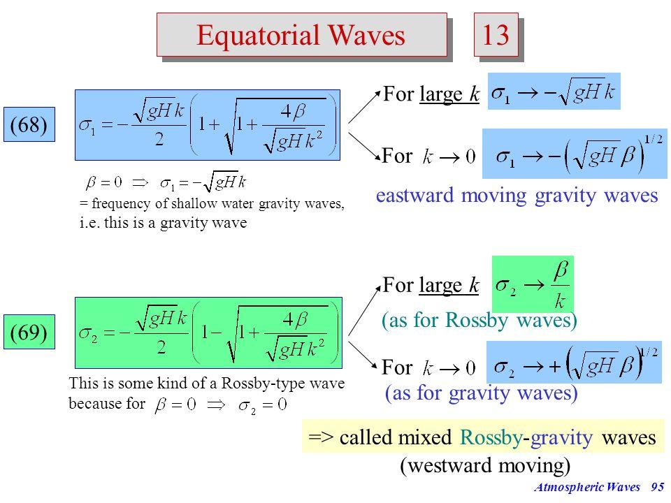 13 Equatorial Waves For large k (68) For eastward moving gravity waves