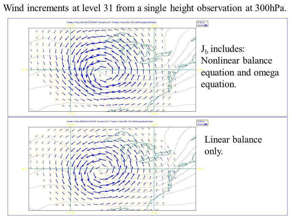 Wind increments at level 31 from a single height observation at 300hPa.