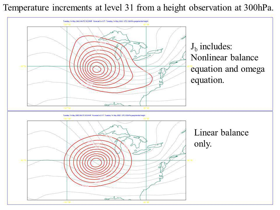 Temperature increments at level 31 from a height observation at 300hPa.