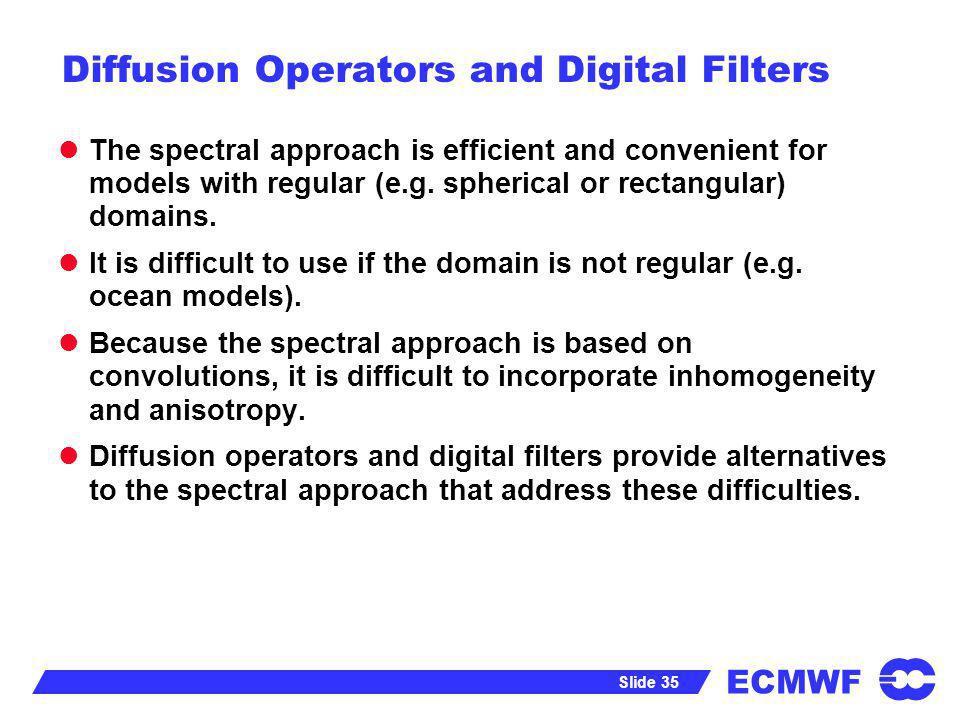 Diffusion Operators and Digital Filters