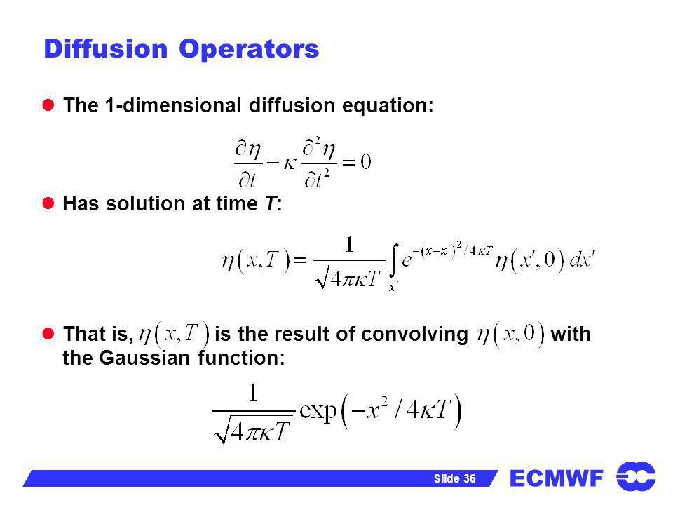 Diffusion Operators The 1-dimensional diffusion equation: