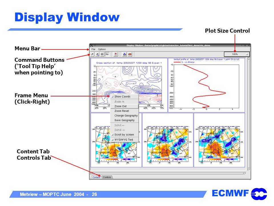 Display Window Plot Size Control Menu Bar
