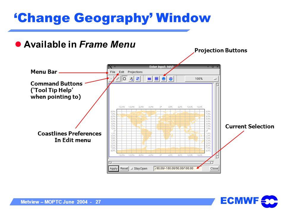 'Change Geography' Window