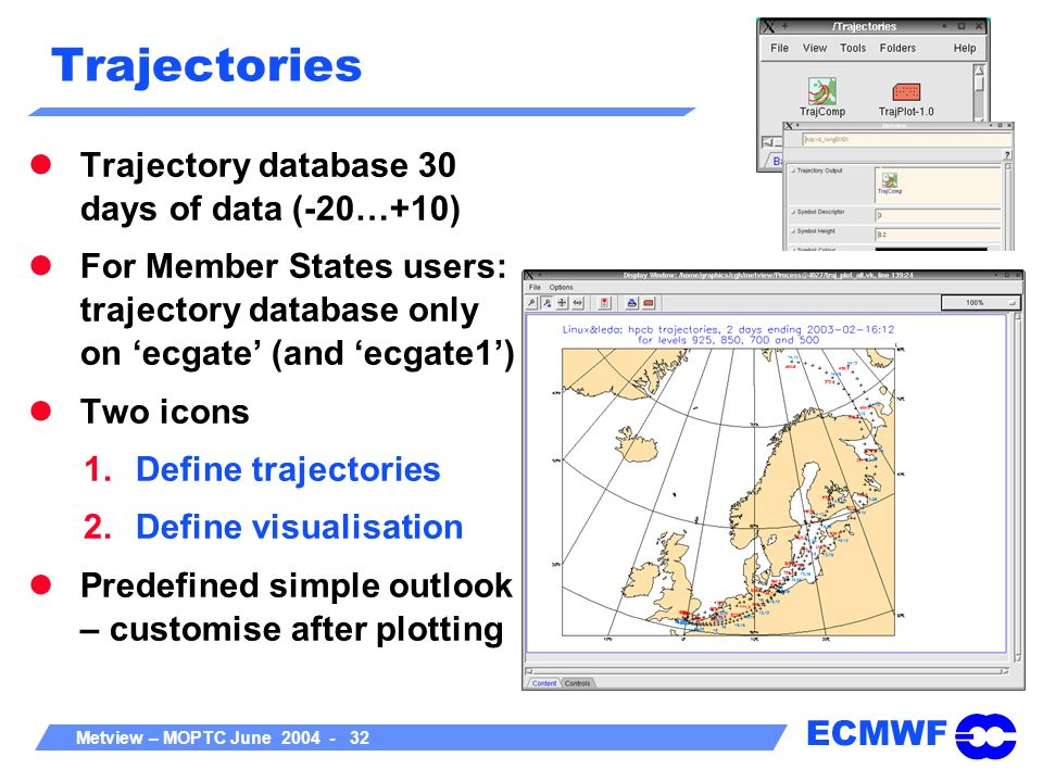 Trajectories Trajectory database 30 days of data (-20…+10)