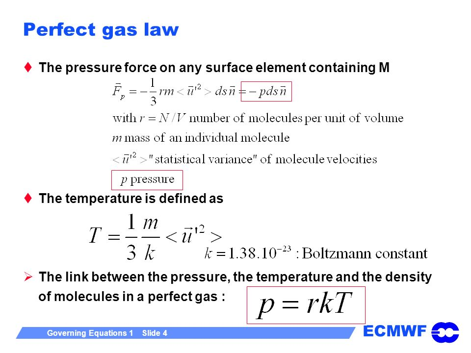 Perfect gas law The pressure force on any surface element containing M
