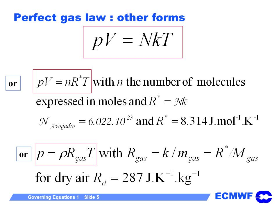Perfect gas law : other forms