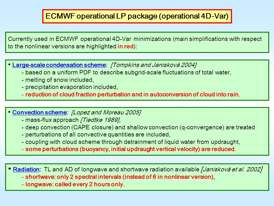 ECMWF operational LP package (operational 4D-Var)