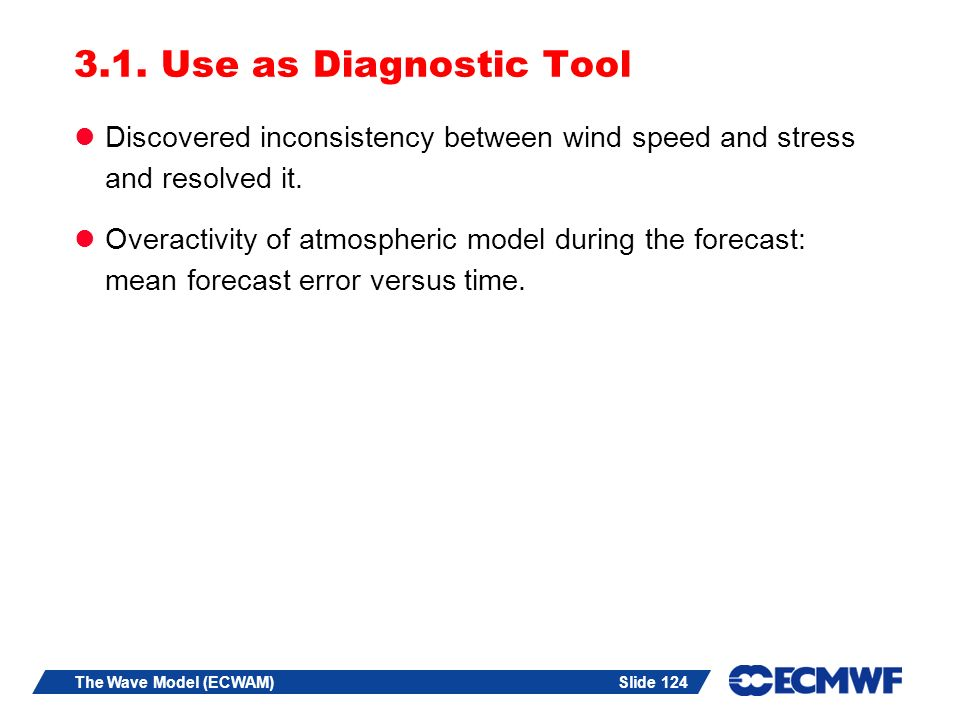 3.1. Use as Diagnostic Tool Discovered inconsistency between wind speed and stress and resolved it.