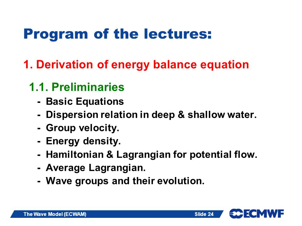 Program of the lectures: