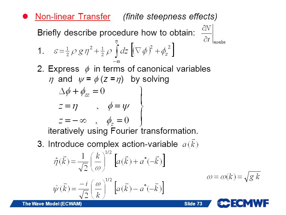 Non-linear Transfer (finite steepness effects)