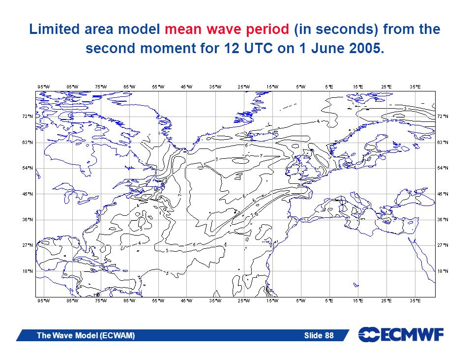 Limited area model mean wave period (in seconds) from the second moment for 12 UTC on 1 June 2005.