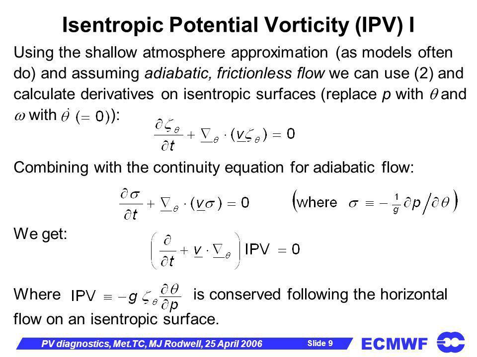 Isentropic Potential Vorticity (IPV) I