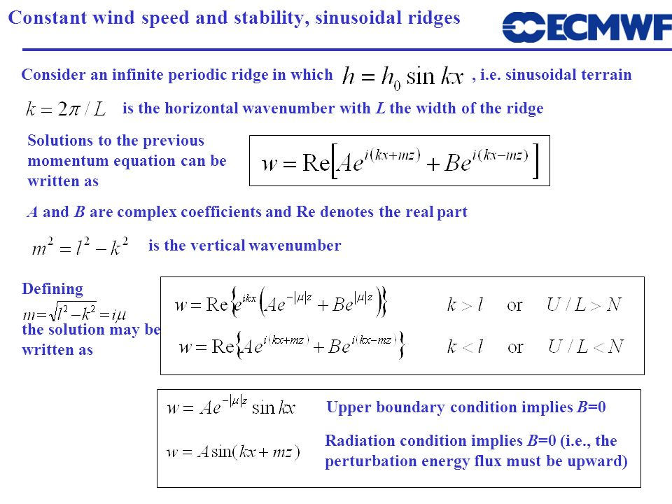 Constant wind speed and stability, sinusoidal ridges