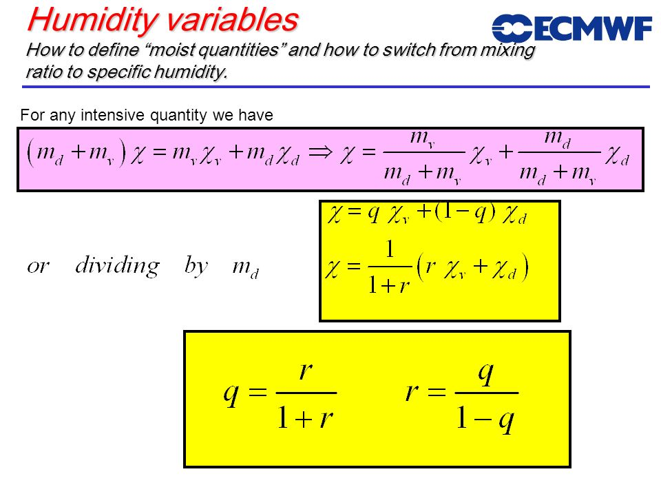 ECMWF Training CourseMay 2001. Humidity variables How to define moist quantities and how to switch from mixing ratio to specific humidity.