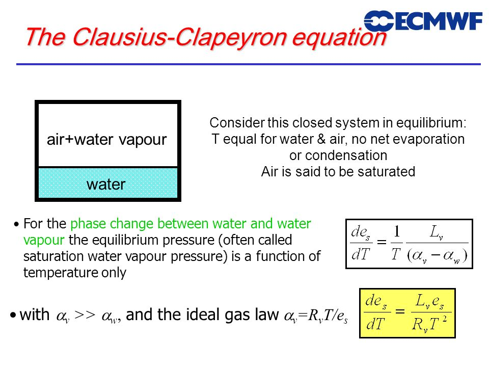 The Clausius-Clapeyron equation