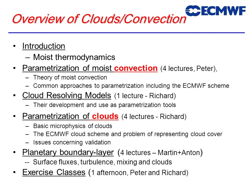 Overview of Clouds/Convection