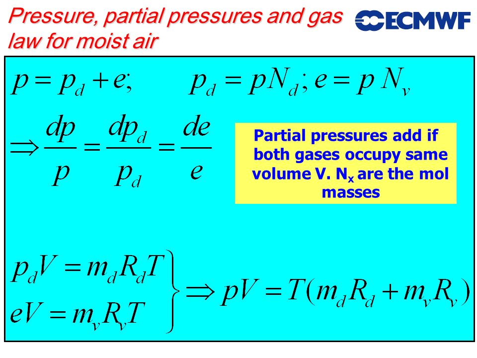 Pressure, partial pressures and gas law for moist air
