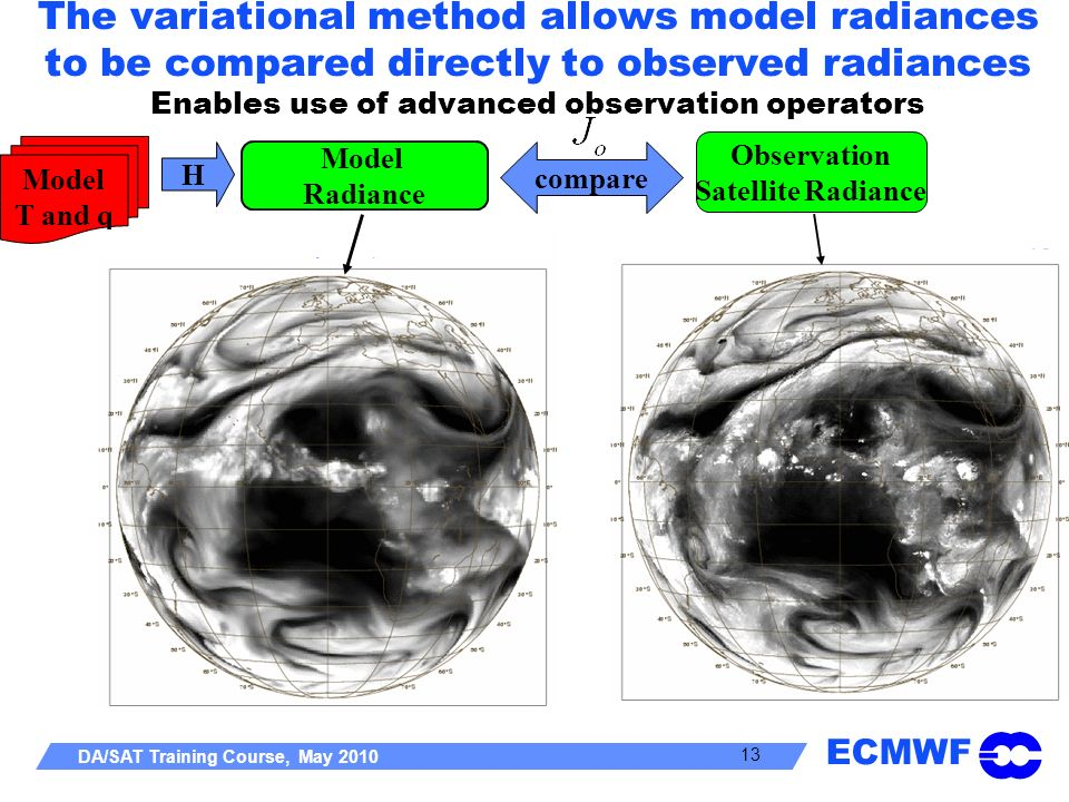 The variational method allows model radiances to be compared directly to observed radiances Enables use of advanced observation operators