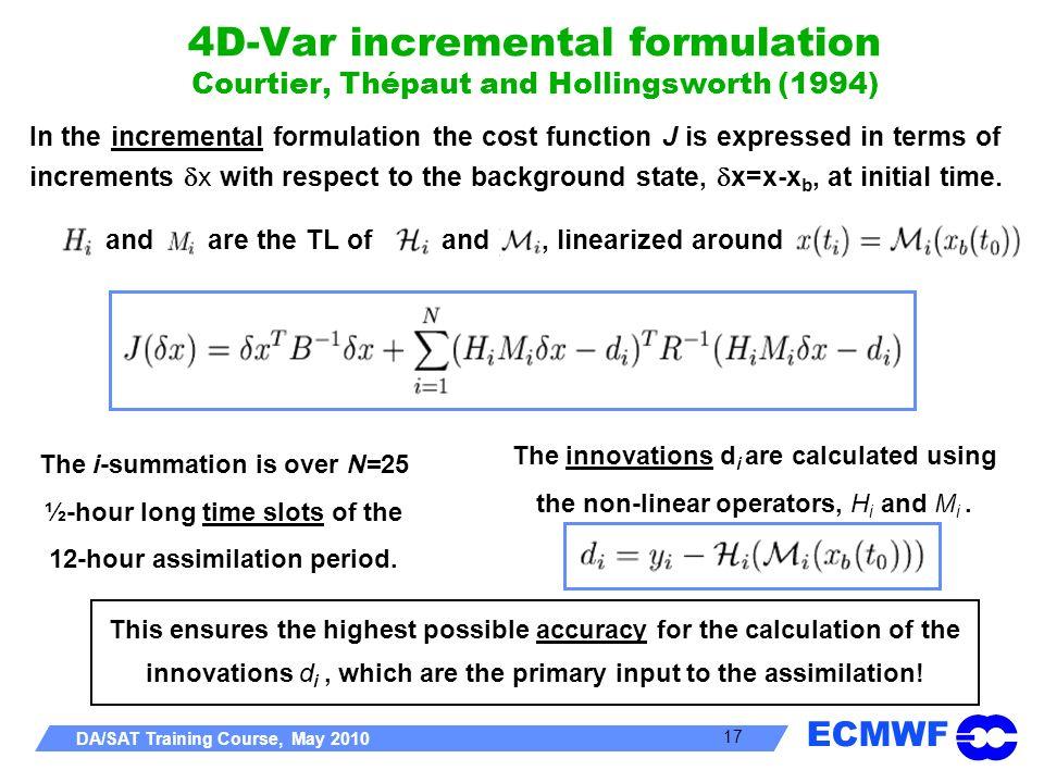 4D-Var incremental formulation Courtier, Thépaut and Hollingsworth (1994)