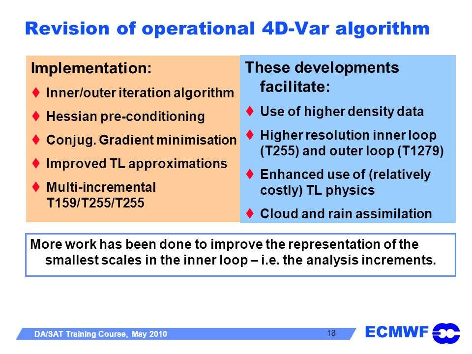 Revision of operational 4D-Var algorithm