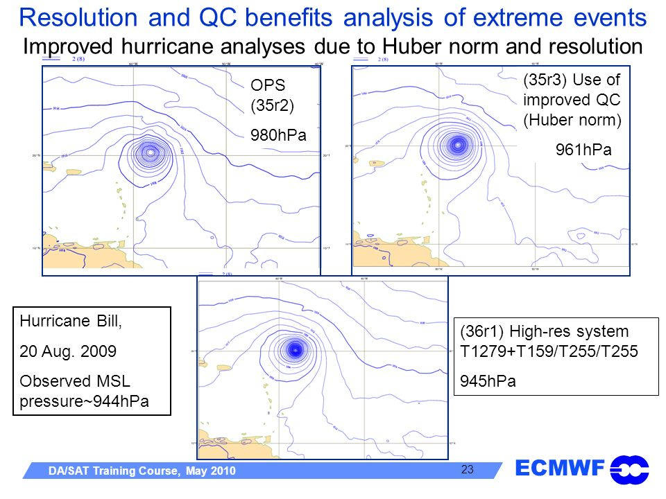 Resolution and QC benefits analysis of extreme events Improved hurricane analyses due to Huber norm and resolution