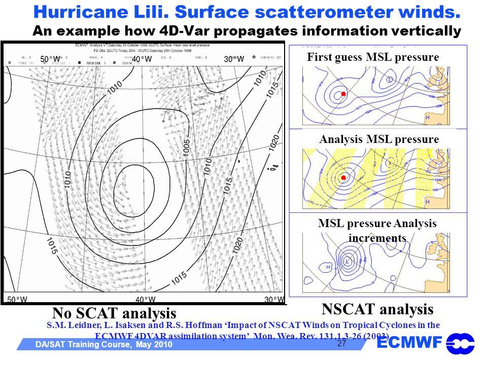 Hurricane Lili. Surface scatterometer winds