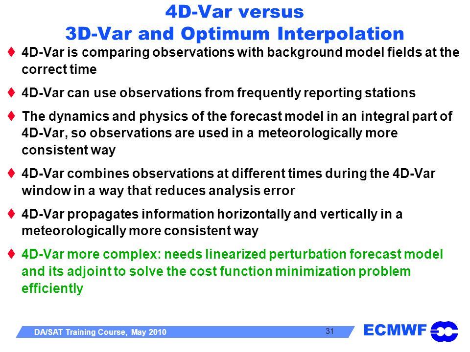 4D-Var versus 3D-Var and Optimum Interpolation