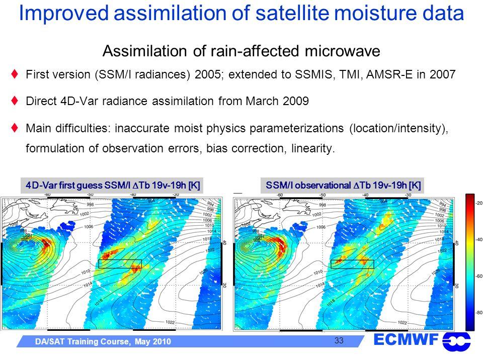 Improved assimilation of satellite moisture data